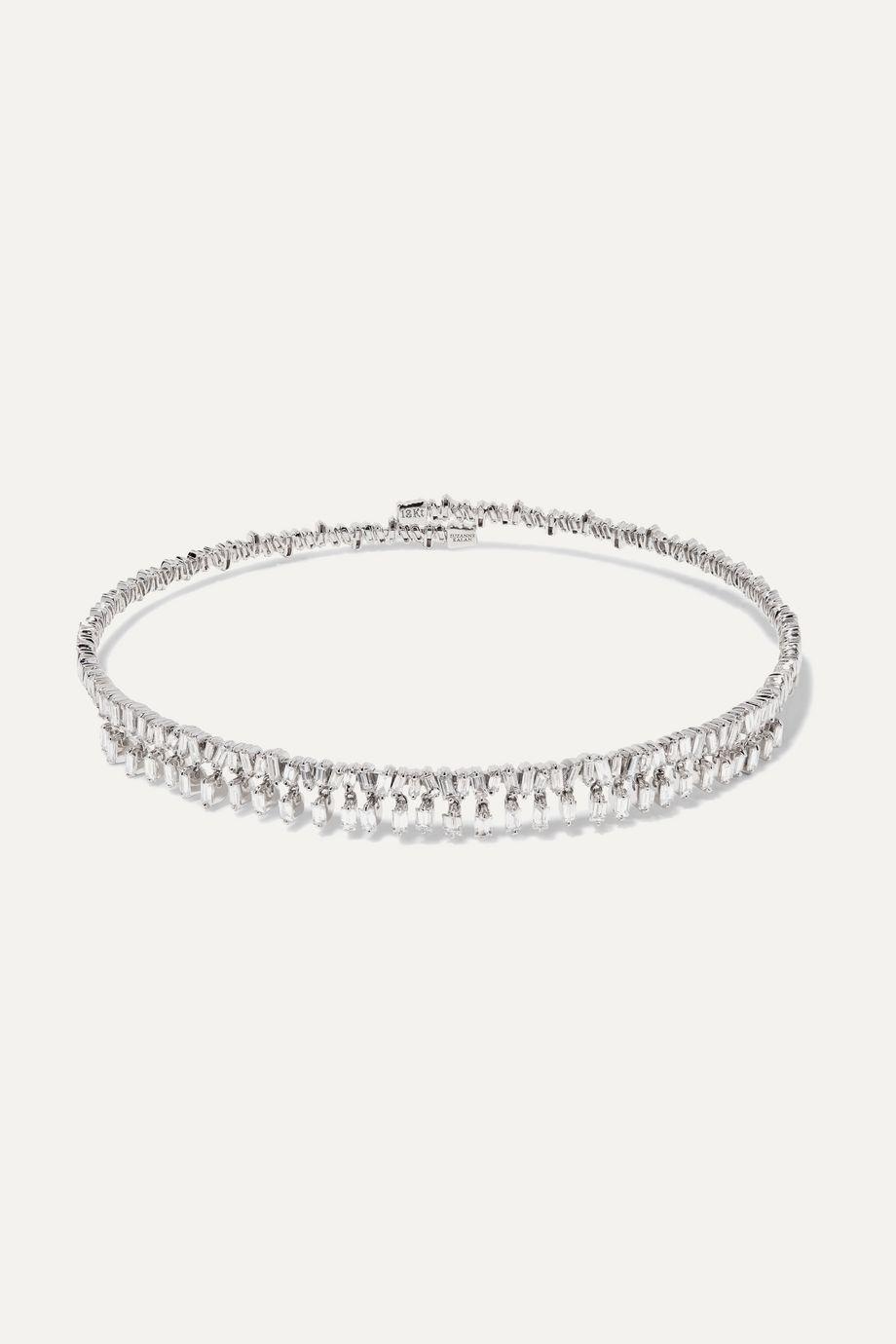 Suzanne Kalan Tour de cou en or blanc 18 carats et diamants