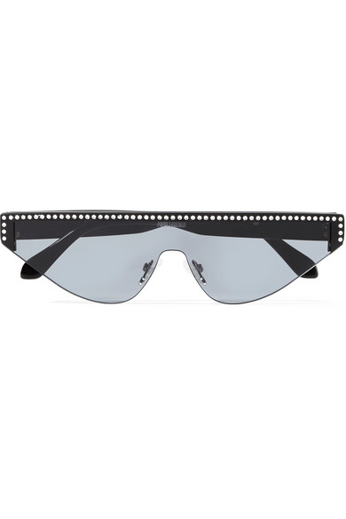 POPPY LISSIMAN Shield D-Frame Crystal-Embellished Acetate Sunglasses in Black