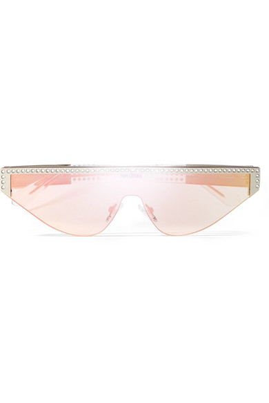 POPPY LISSIMAN Shield D-Frame Crystal-Embellished Acetate Mirrored Sunglasses in Pink
