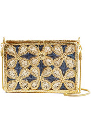 Magnetic Midnight Flores Mariposa woven palm leaf and gold-plated shoulder bag