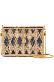 Magnetic Midnight Rombos woven palm leaf and gold-plated shoulder bag