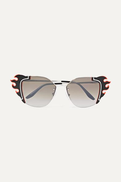 311bb818b7b Prada. Embellished cat-eye acetate and silver-tone sunglasses