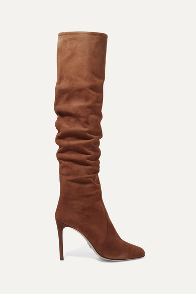 b7b255046c5 Prada. 100 suede knee boots