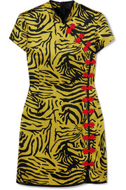 De La Vali Suki tiger-print silk-satin mini dress