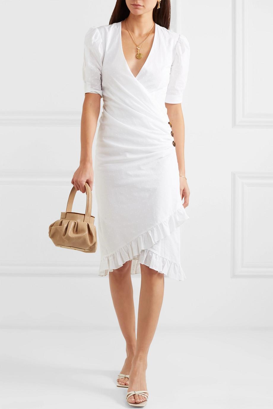 De La Vali Shanna Kleid aus Baumwollpopeline mit eingewebten Punkten, Rüschen und Wickeleffekt