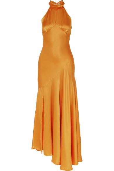 De La Vali Silks Vivienne asymmetric silk-satin maxi dress