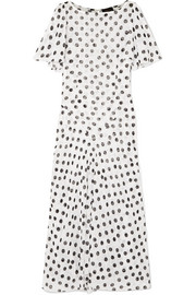 De La Vali Olivia ruffled polka-dot fil coupé chiffon maxi dress