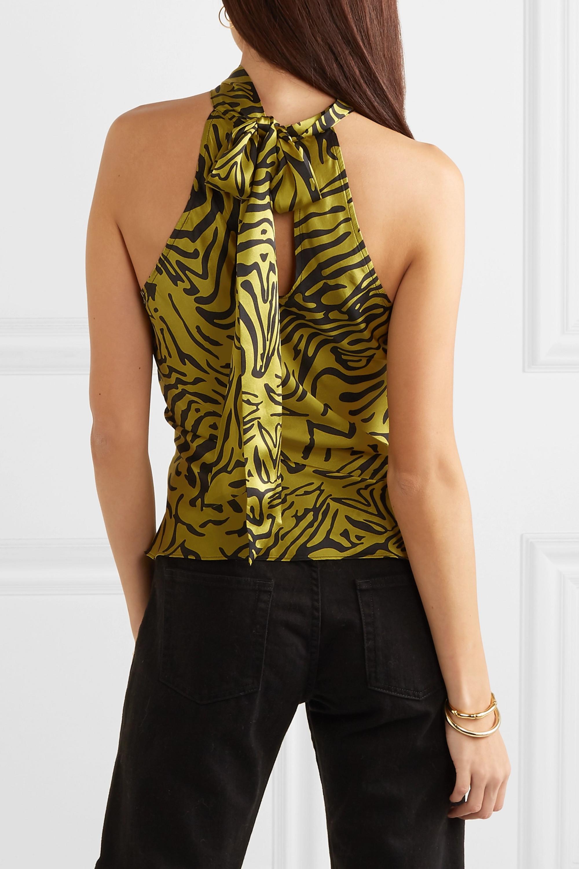 De La Vali Vivienne tiger-print silk-satin halterneck top