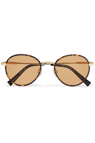 0fb359f88e Le Specs. Zephyr Deux round-frame tortoiseshell acetate and gold-tone  sunglasses