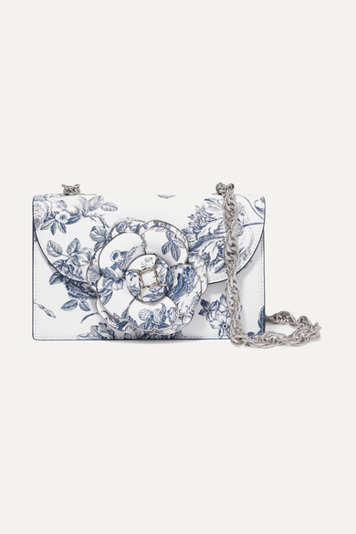 Tro Floral-Print Textured-Leather Shoulder Bag in White