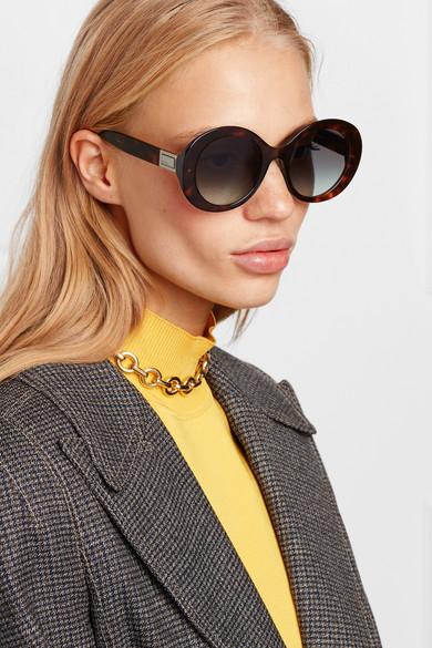 Fendi Sunglasses Round-frame tortoiseshell acetate sunglasses