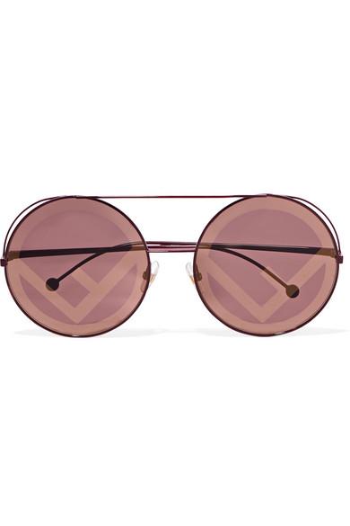 bd5c78acf3dcb Fendi Run Away 63Mm Round Sunglasses In Burgundy