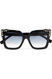Studded square-frame acetate sunglasses