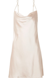 Draped stretch-silk satin chemise