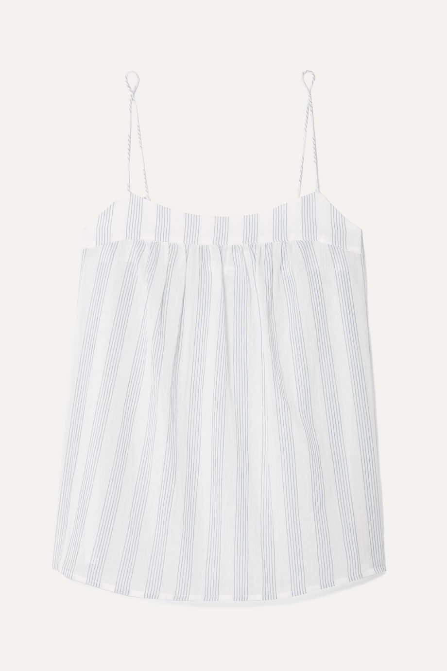 Skin Isabella striped cotton-gauze pajama top
