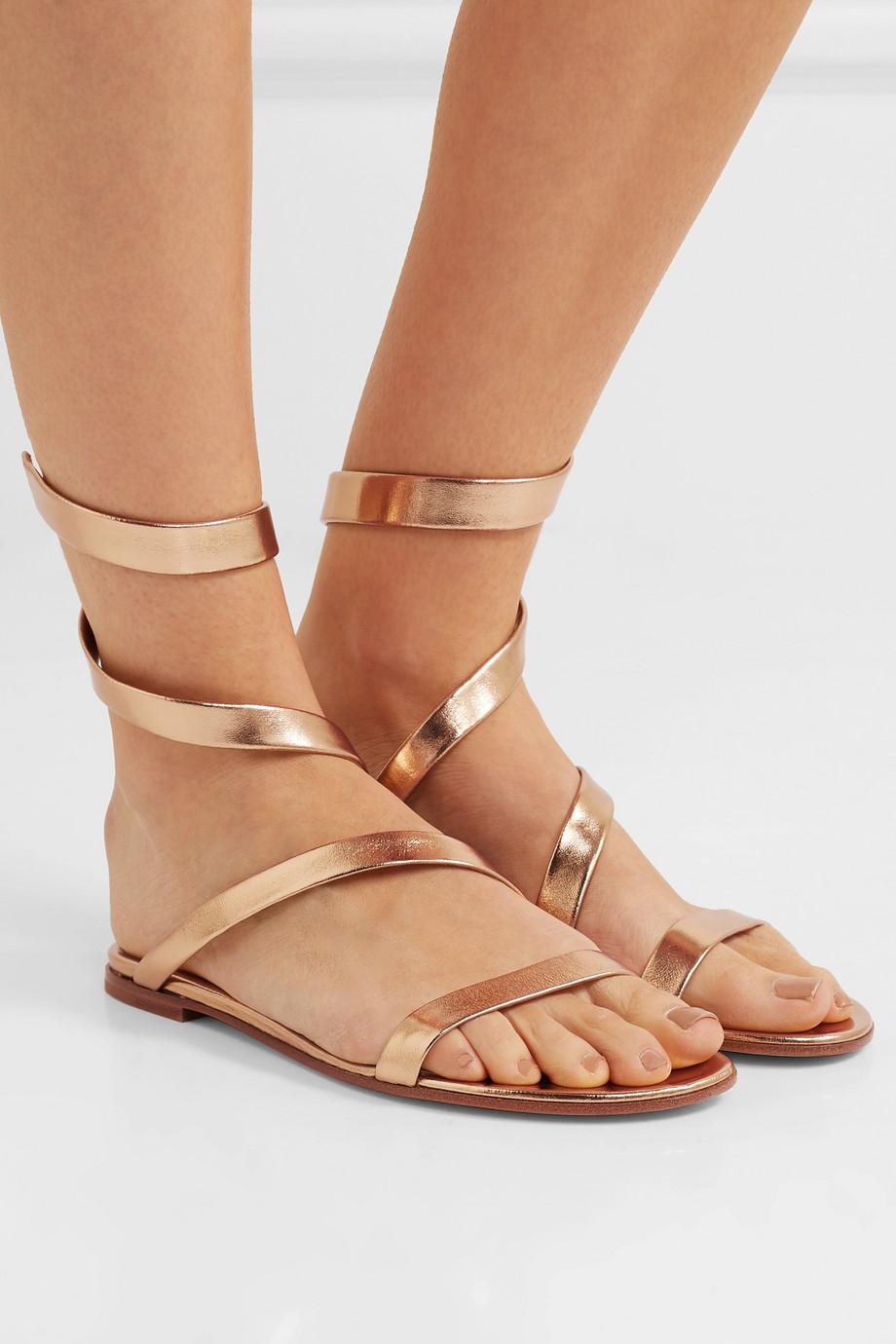 Gianvito Rossi Opera metallic leather sandals