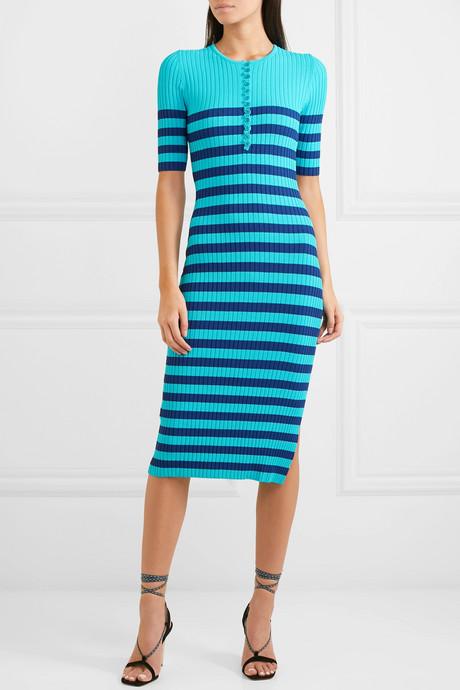 Sunday striped ribbed stretch-knit midi dress