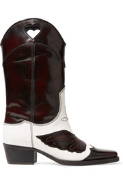 GANNI Marlyn two-tone embroidered leather cutout boots