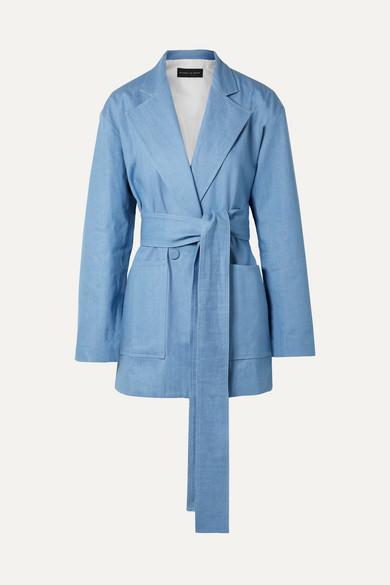Oversized Belted Double-Breasted Denim Blazer in Light Blue