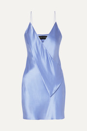 Draped silk-satin mini dress