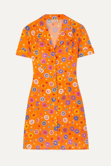 Clemenceau Floral Print Silk Crepe De Chine Mini Dress by Lhd