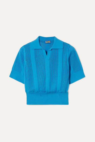 LHD | LHD - Le Phare Open-knit Cotton Polo Shirt - Blue | Goxip
