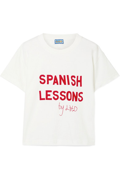 LHD | LHD - Spanish Lessons Flocked Cotton-jersey T-shirt - White | Goxip
