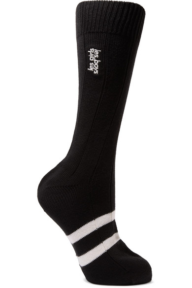 LES GIRLS, LES BOYS Classic Embroidered Striped Cotton Socks in Black