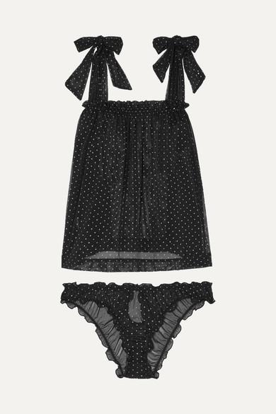 LE PETIT TROU Lou Ruffled Metallic Fil Coupé Tulle Pajama Set in Black