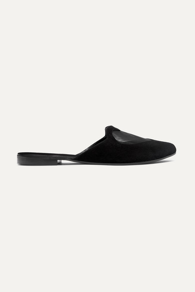 LE PETIT TROU Cherie Mesh-Paneled Suede Slippers in Black