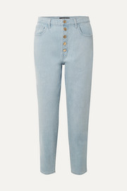 Heather cropped high-rise straight-leg jeans
