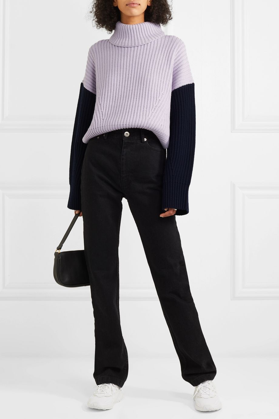 Ninety Percent Two-tone ribbed organic merino wool turtleneck sweater