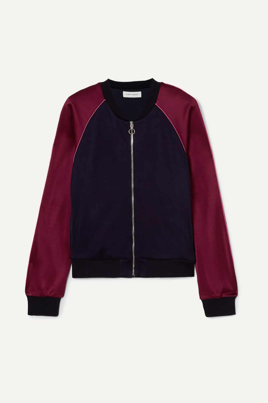 Ninety Percent Two-tone satin-jersey bomber jacket