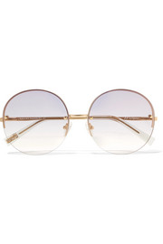 Le Specs Say My Name round-frame gold-tone sunglasses