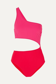 Stella McCartney Cutout one-shoulder two-tone swimsuit