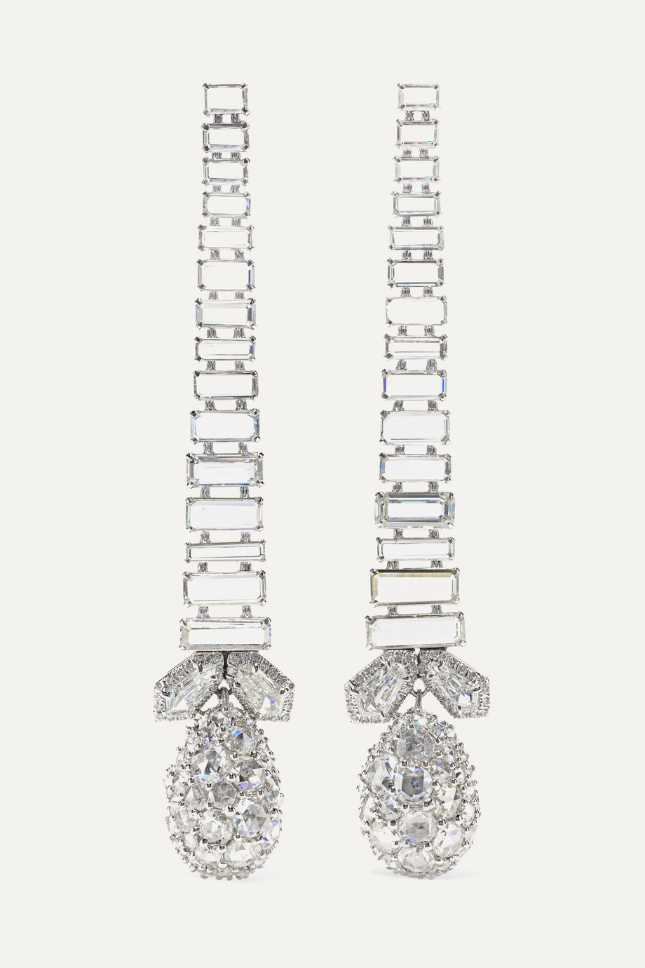 Bina Goenka 18-karat white gold and platinum diamond earrings
