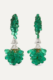 18-karat white and yellow gold, emerald and diamond earrings