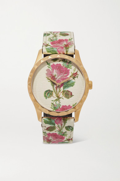 87188236816 Gucci. G-Timeless floral-print leather and gold-tone watch