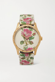 Gucci G-Timeless floral-print leather and gold-tone watch