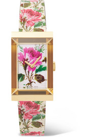 Gucci G-Frame floral-print leather, gold-tone and mother-of-pearl watch