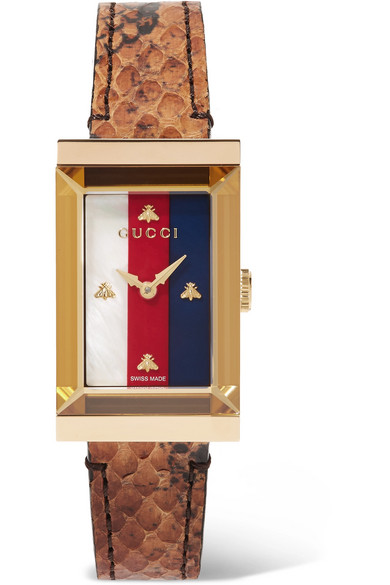 G Frame Ayers, Gold Tone And Mother Of Pearl Watch by Gucci
