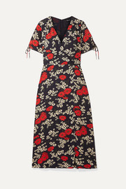 Madewell Wrap-effect floral-print crepe de chine midi dress