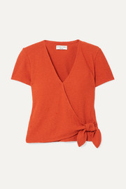 Madewell Miller textured stretch-cotton wrap top