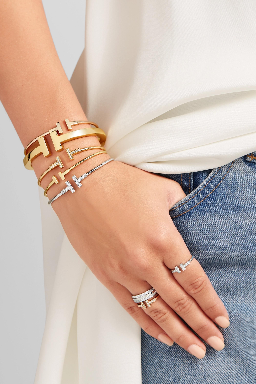 Gold T Wire Narrow 18 Karat Gold Bracelet Tiffany Co Net A Porter