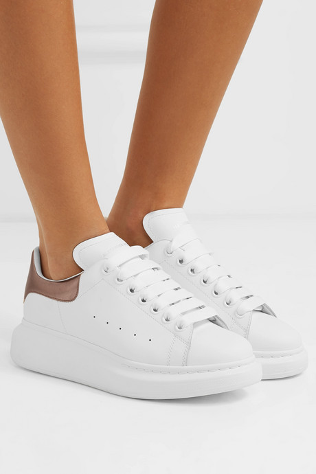 Metallic-trimmed leather exaggerated-sole sneakers