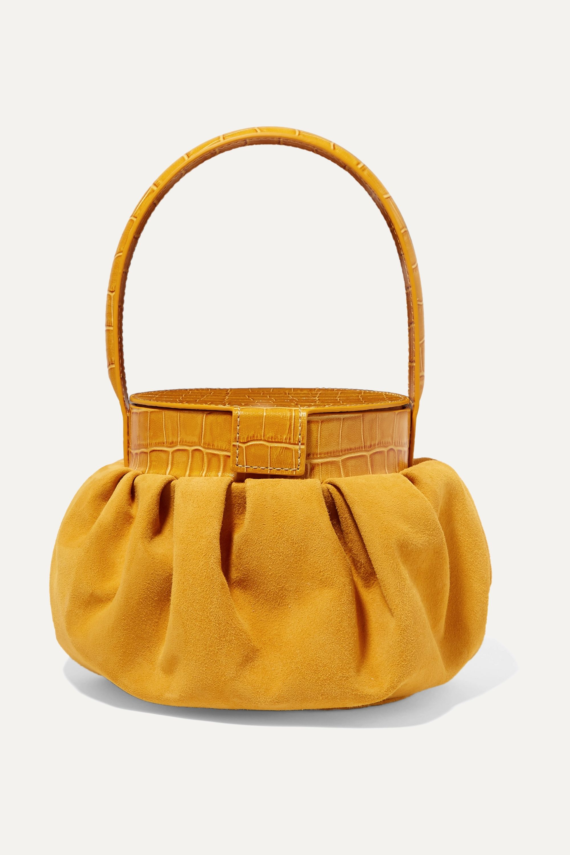 REJINA PYO Agnes suede and croc-effect leather tote