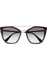TOM FORD Dahlia cat-eye acetate and gold-tone sunglasses