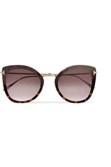 2a014594a TOM FORD   Cat-eye tortoiseshell acetate and gold-tone sunglasses ...