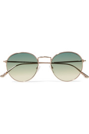 TOM FORD Round-frame rose gold-tone sunglasses