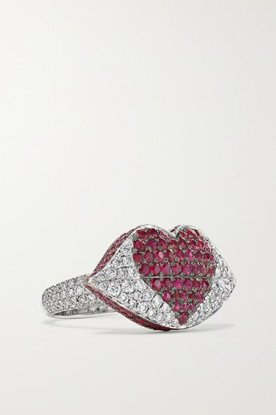 OFIRA Kiss Me 18-Karat White Gold, Diamond And Ruby Ring
